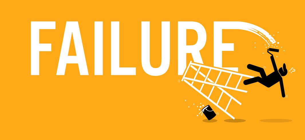 Painter painting the word failure on a wall by climbing up on a ladder but fell down miserably. vector