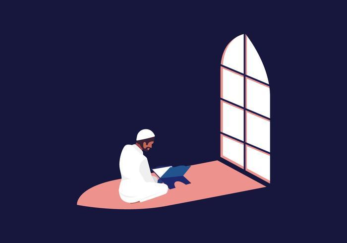 Muçulmano, leitura, al-Quran, vetorial vetor