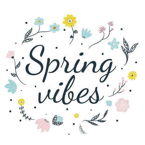 Fleurs colorées mignonnes et feuilles avec fond de citation de printemps