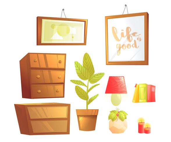Modern furniture for bedroom interior design elements. Vector cartoon illustration set