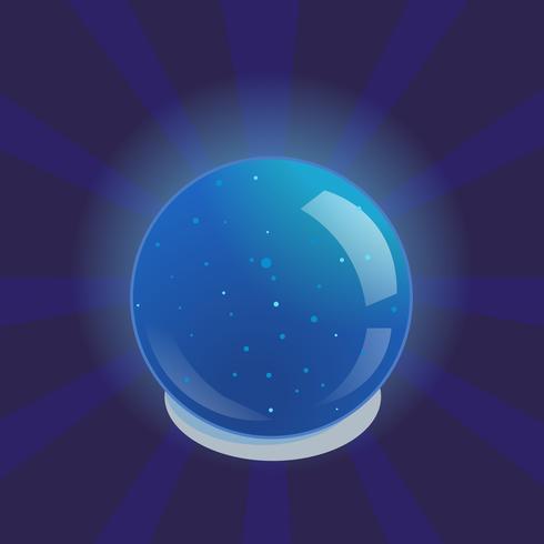 Bola mágica que brilla intensamente azul. Ilustración vectorial de dibujos animados