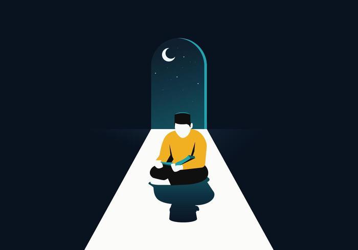 Musulmán leyendo el vector del Corán
