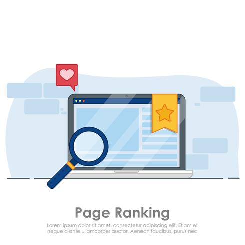 Página de ranking en el banner del portátil. Ventana del navegador con el signo favorito de la estrella. Vector ilustración plana