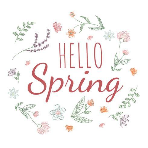 Hojas lindas y flores botánicas con cita de primavera