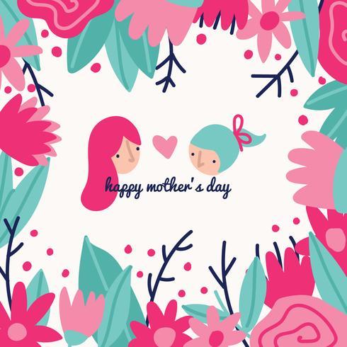 Desenho de dia das mães colorido vetor