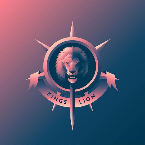 lejonhuvud retro emblem