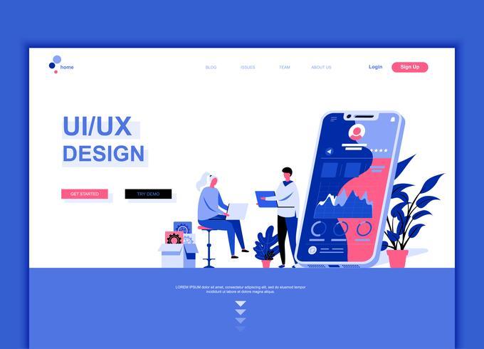 Concept de modèle de conception de page Web plat moderne de UX
