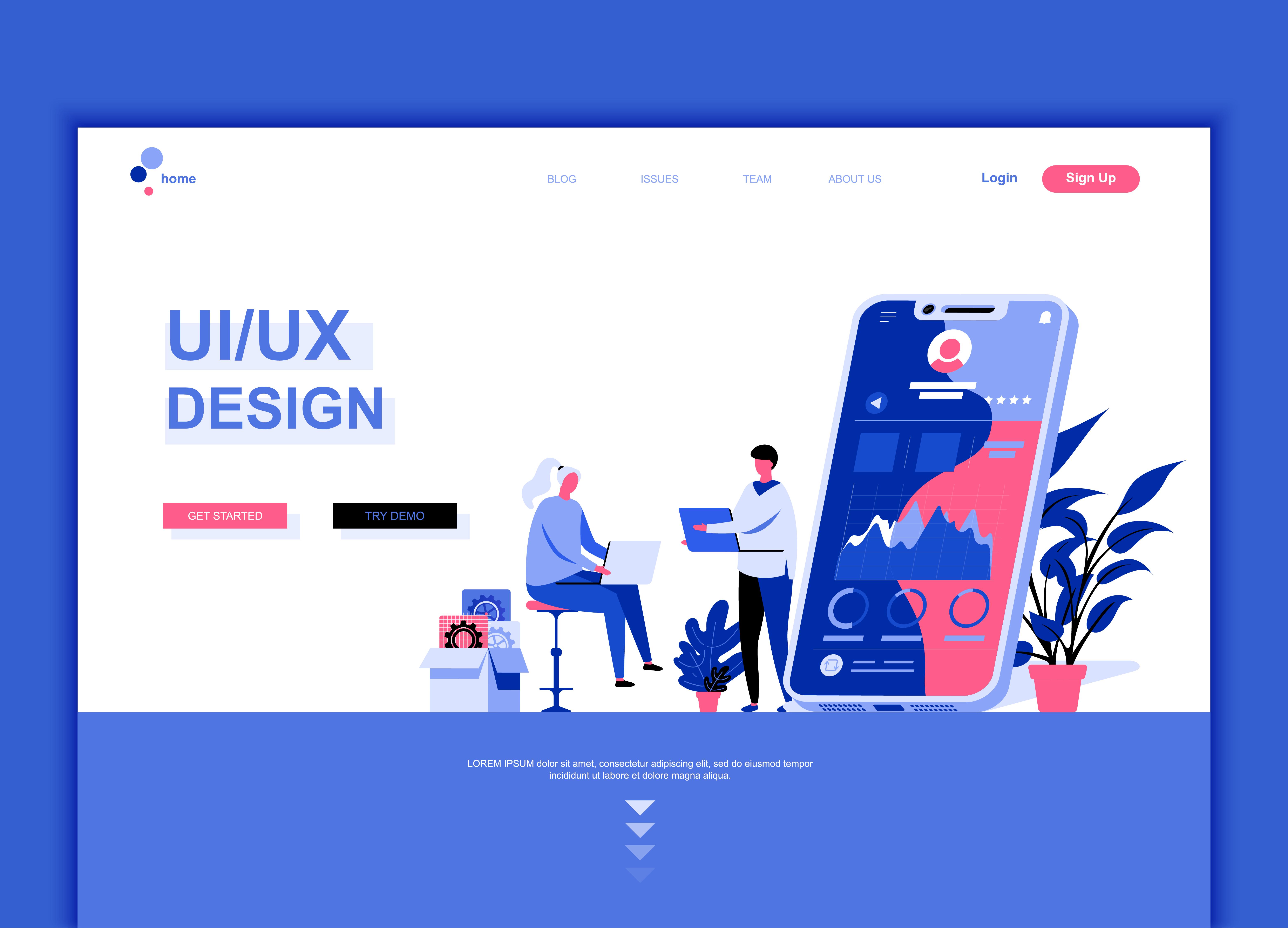 Vector Illustration Web Designs: Modern Flat Web Page Design Template Concept Of UX