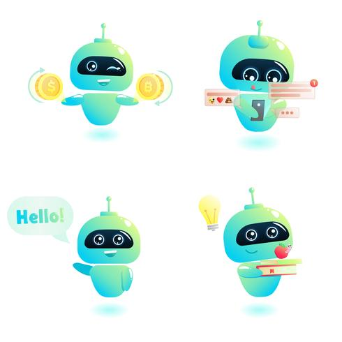 Cute bot character set. Chatbot greets. Online consultation. Vector cartoon illustration