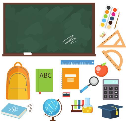 Zurück zu Schulbunten Ikonen und Vektorgestaltungselementen. Bildungsbriefpapierversorgungen und -werkzeuge lokalisiert auf weißem Hintergrund.