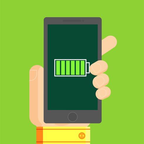 Telefone na mão do homem, com bateria cheia de energia. Ilustração vetorial plana