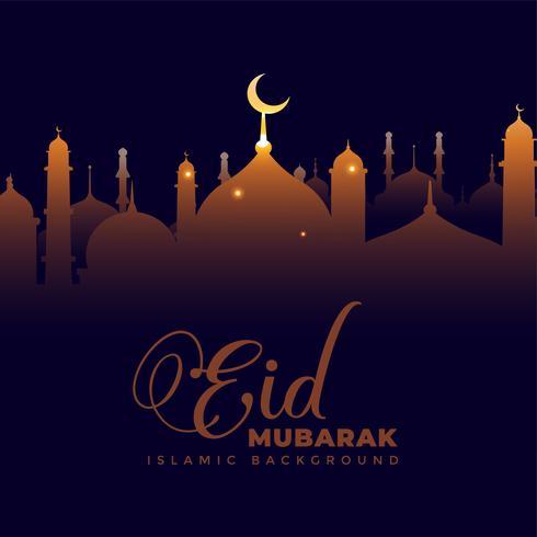 moschea lucente su sfondo scuro eid mubarak