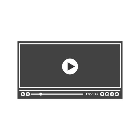Video Player Glyphe Schwarze Ikone