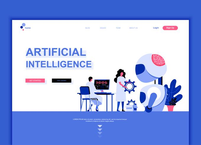 Moderno concetto di modello di design piatto pagina web di intelligenza artificiale