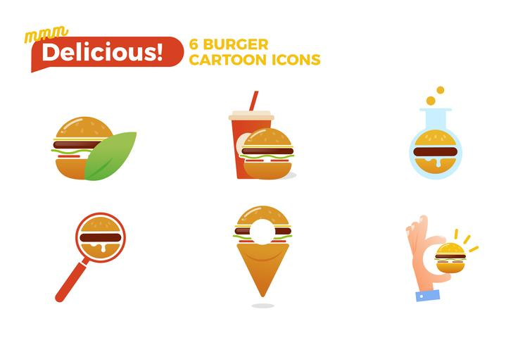 Hamburger cartoon pictogramserie. Snel voedsel levering logo concept. Vector illustratie