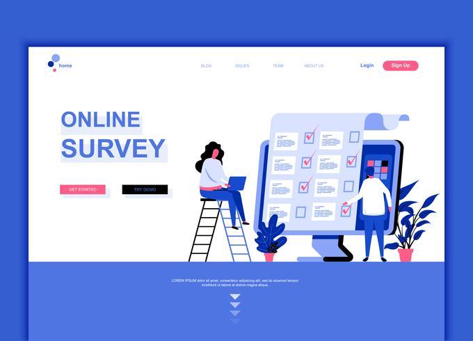 Concept de modèle de conception de page Web plat moderne de l'enquête en ligne