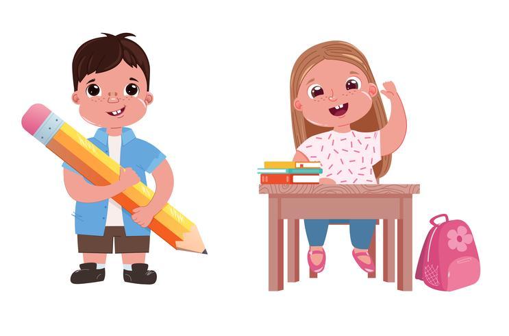 Kinderen gaan naar school. Het meisje studeert tijdens de les. Een jongen met een boek en een potlood. Vector cartoon illustratie