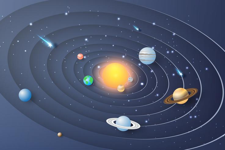 Paper art of Solar system circle background. vector