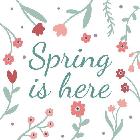 Flores naturais coloridas, folhas e citação a primavera vetor