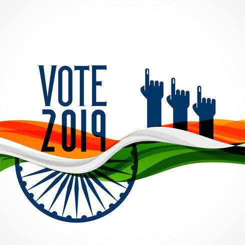 vote fond Inde avec drapeau et main