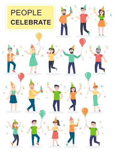 Conjunto de jóvenes risas alegres personas saltando con las manos levantadas