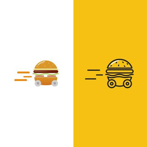 Entrega de hamburguesas. Coche de hamburguesa rápido. Logotipo para restaurante o cafetería. Ilustración vectorial