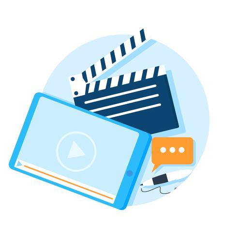 Banner di presentazione video. Tablet con un video e una penna e un batacchio film. Illustrazione piatta vettoriale
