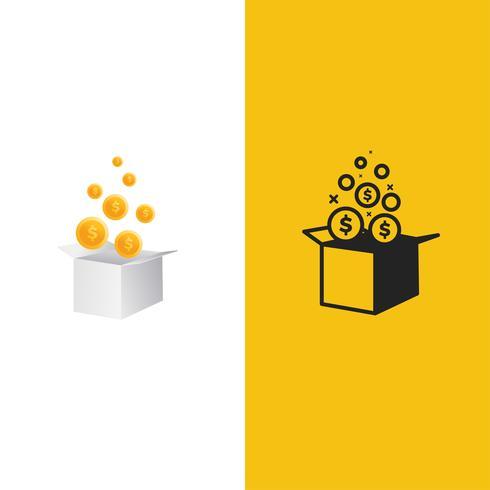 Logo de la tirelire. Cadeau de prix avec illustration de pièces d'un dollar. Logotype d'art ligne vecteur