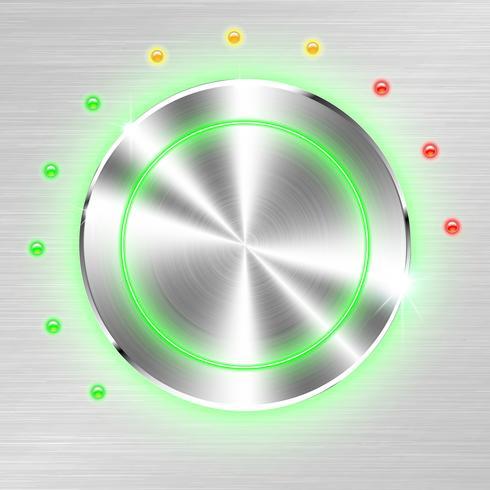 Einfarbiger Volumenknopf auf metallischem Blatthintergrund.