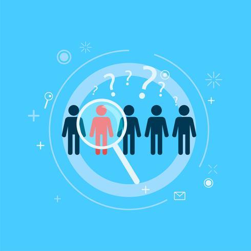Grupo objetivo de enfoque. Destacan cinco personas una con lupa direccional. Vector ilustración plana