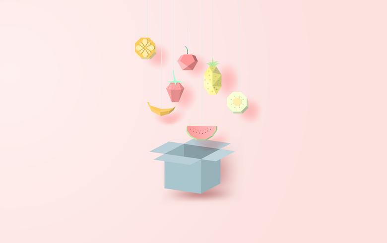 Colección geométrica poligonal 3d papel arte estilo frutas.