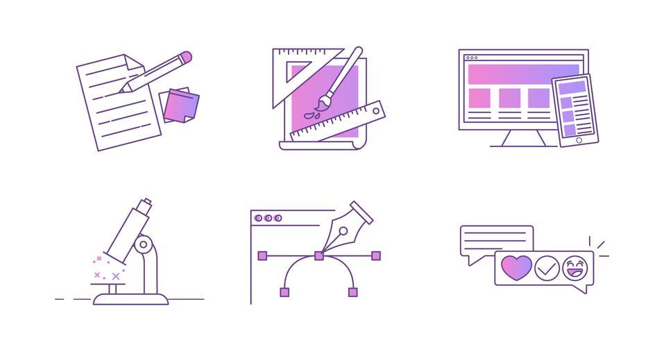 Línea de iconos para el sitio web de diseño. Desarrollo de conceptos. Vector gradiente ilustración