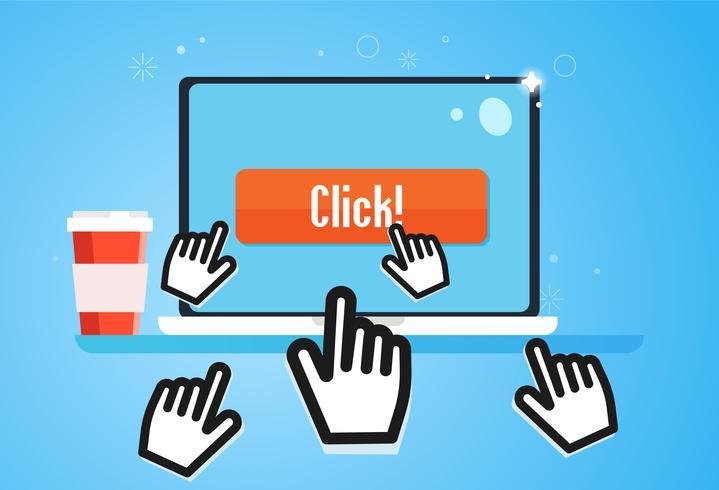 Clickbait. Curseurs de la main mouche à l'ordinateur portable, appuyez sur le bouton. Le marketing numérique. Illustration de plat Vector