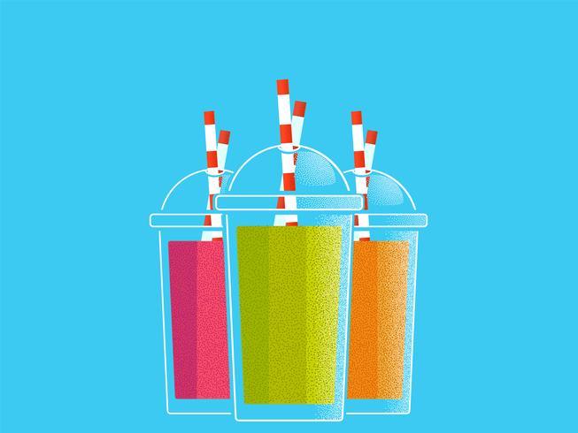 Frullati colorati per uno stile di vita sano. Occhiali con tubi. Illustrazione vettoriale di una trama