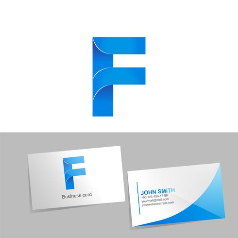 Logo degradado con la letra F del logo. Tarjeta de visita de la maqueta en el fondo blanco. El concepto de diseño de elementos tecnológicos. ilustración