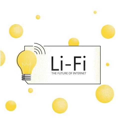 Banner de LiFi. El futuro de internet. Fidelidad a la luz. Vector ilustración de textura plana