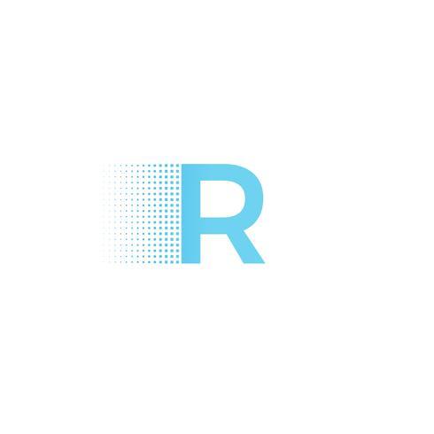 Logo de lettre de typographie pixel. Logotype technologique de calligraphie de police moderne. illustration