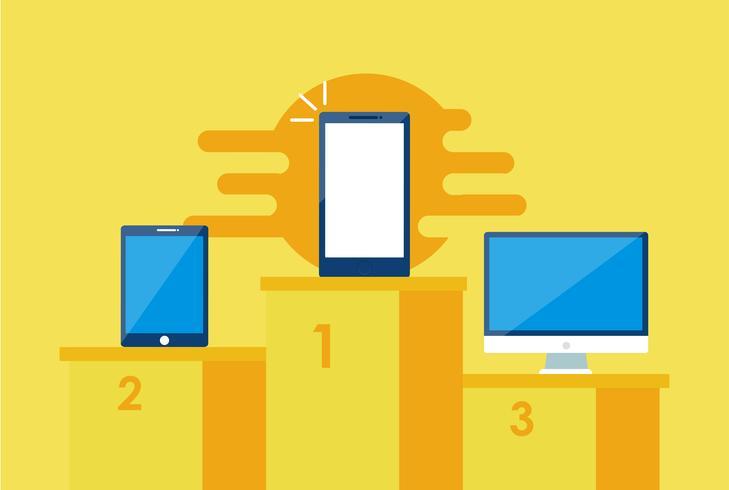 Mobile erste Strategiebanner. Telefon mit Laptop und anderem. Flache Vektorillustration