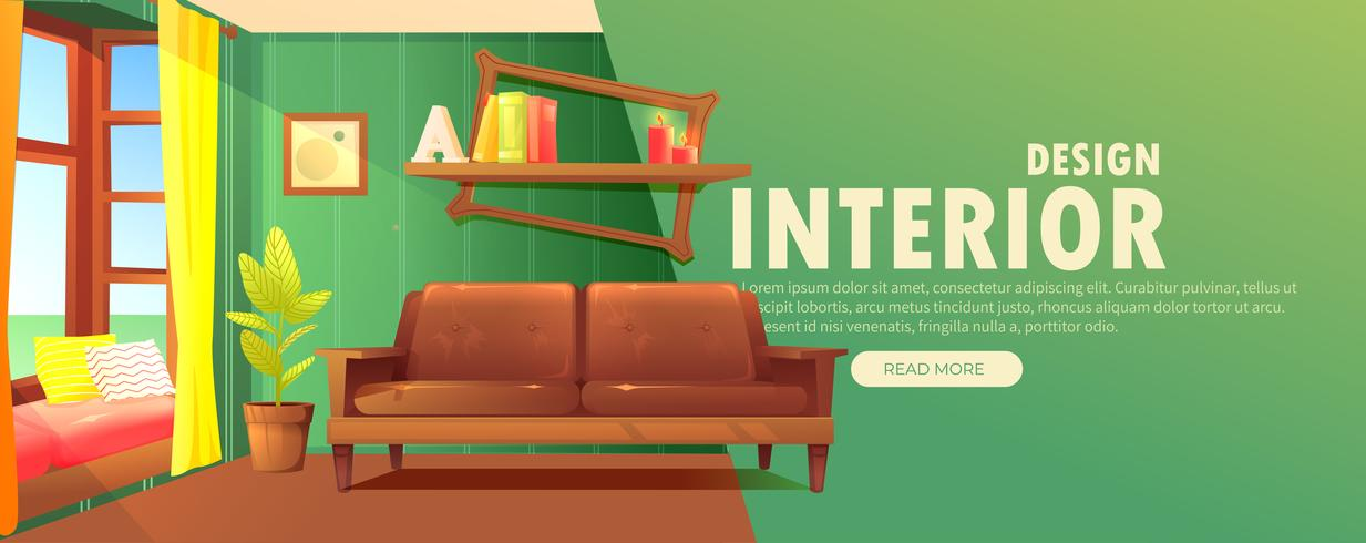 Interior design banner. Retro living room with a sofa and modern furniture  vector