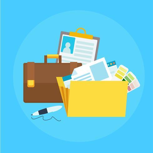Bannière de portefeuille. Dossier avec des fichiers, porte-documents, stylo. Illustration de plat Vector