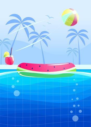 Ciao estate banner design festa. Piscina nel parco acquatico. Illustrazione di cartone animato vettoriale