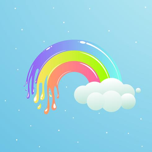 Un bel arcobaleno con nuvole contro il cielo con le stelle. Illustrazione simpatico cartone animato