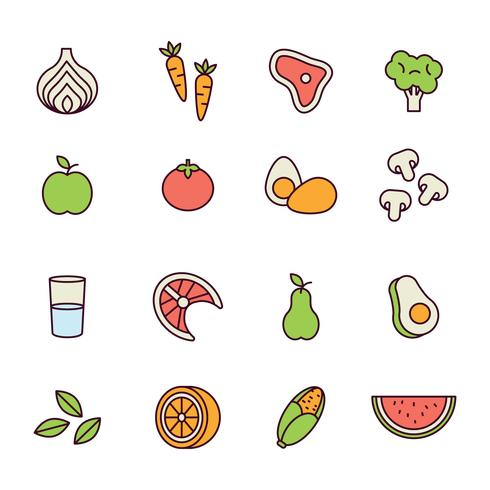 Outlined Healthy Food Icons