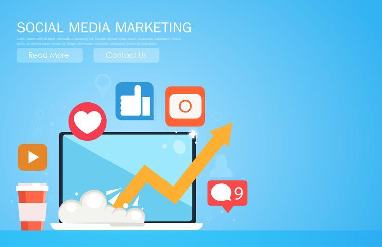 Banner di social media marketing. Computer portatile con programma crescente, icone con i social network. Illustrazione piatta vettoriale