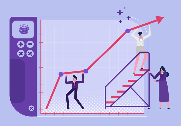 Ilustração em vetor plana de metas bem sucedidas de empresa