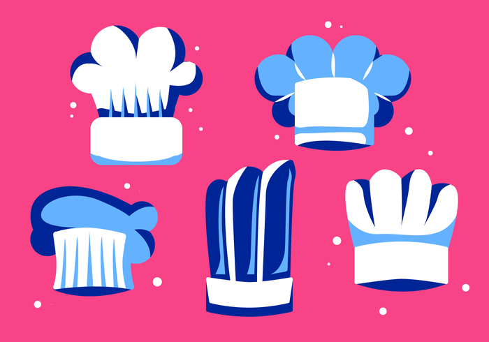 Weiße Chef Hat Collection Vector-flache Illustration