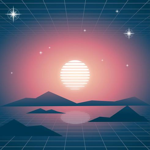 Retro Bakgrund Vaporwave Vibe vektor