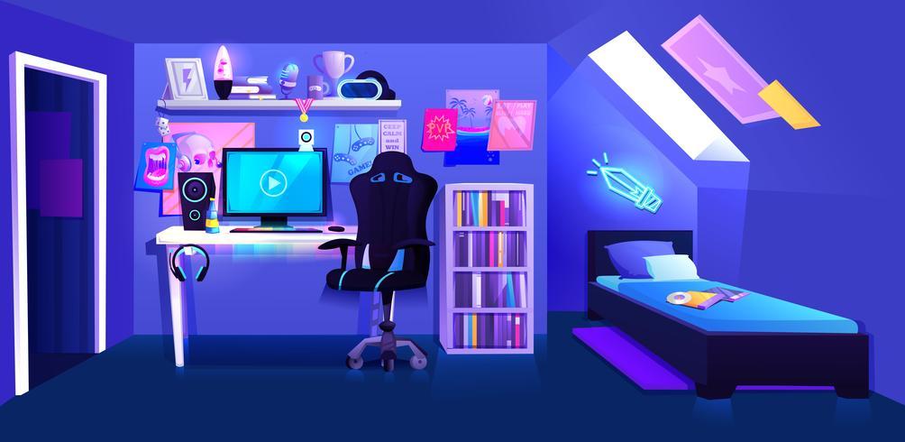 Gamer Boy Room On Attic Interior Banner Download Free