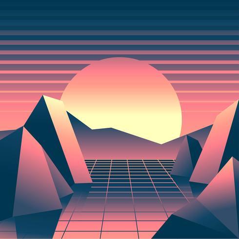 Retro achtergrond Vaporwave zonsondergang landschap