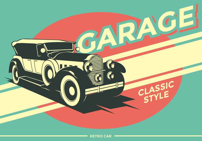 Retro auto garage vector